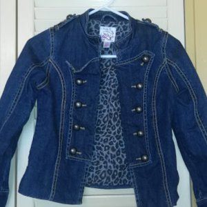 Double Breasted Jean Denim Jacket Girl Large 10-12